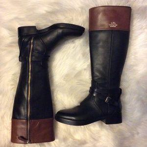 COACH Elm Riding Winter Boot Size 5 Brown Black